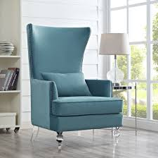 Captivating Sea Blue Living Room For Your Bristol Velvet Acrylic Lucite Legs Accent Chair