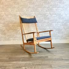 Mid-Century Teak And Cane Rocking Chair By Hans Olsen