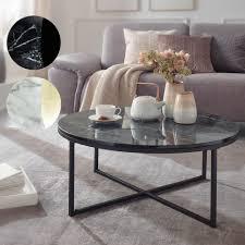 finebuy design couchtisch ø 80 cm marmoroptik wohnzimmertisch mit metall gestell sofatisch rund tisch wohnzimmer beistelltisch