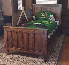 Rustic Wood Farmhouse Style Bed Potterybarnkids Camp Twin Boys Room John Deer How To Build