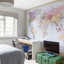 Teen Boys Room With Map Mural