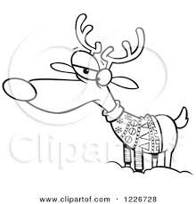 Cartoon Black And White Unhappy Reindeer In An Ugly Christmas Sweater by toonaday