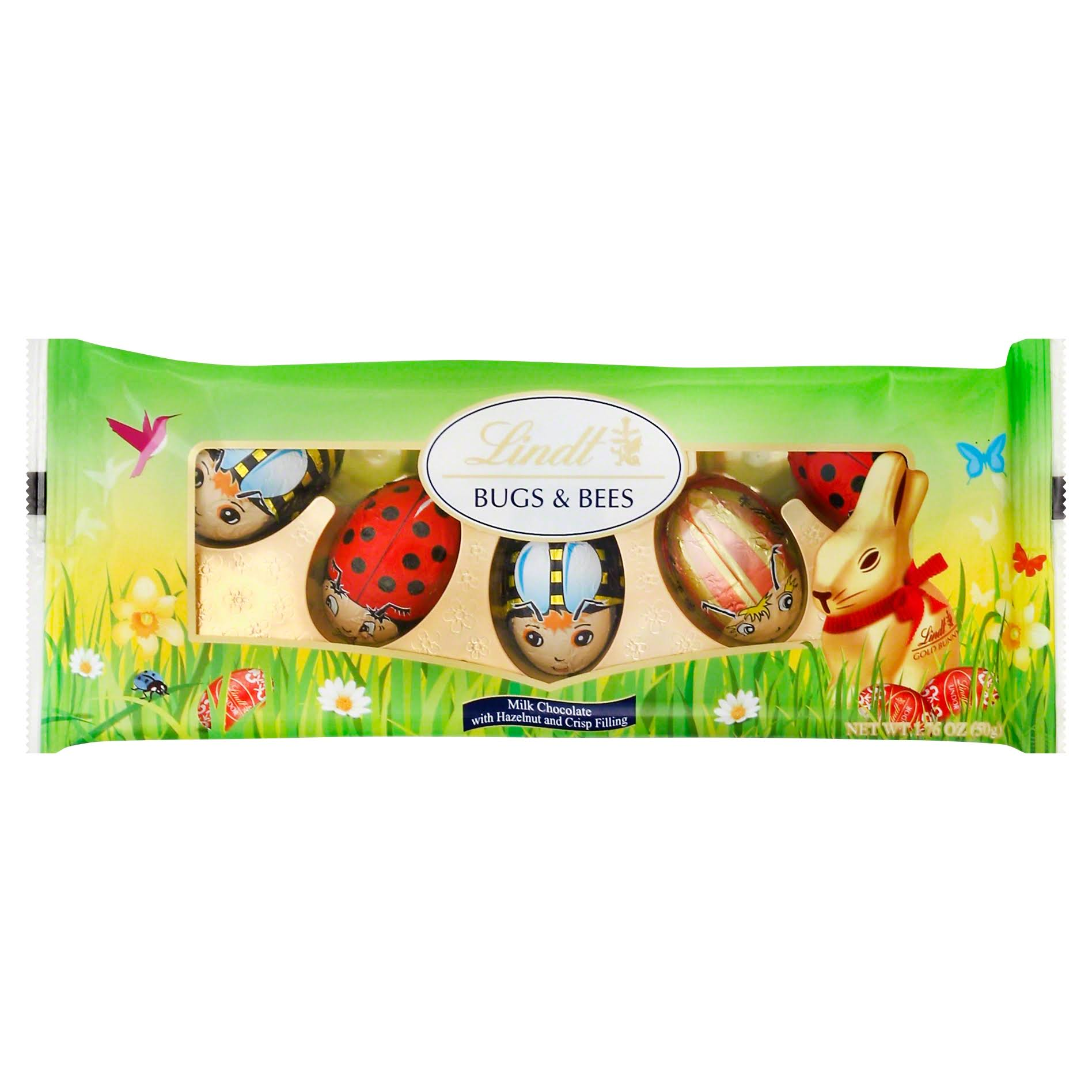 Lindt Bugs & Bees Milk Chocolate - With Hazelnut and Crisp Filling, 5ct