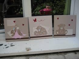 tableau ourson chambre bébé tableau triptyque bébé beige et taupe oursons 30 x 90 cm b deco