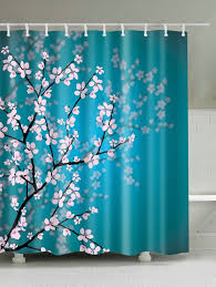 Cherry Blossom Curtain Blue by Lake Blue W59 Inch L71 Inch Plum Blossom Mouldproof Shower