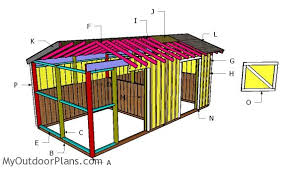 10x20 2 Stall Horse Barn Roof Plans MyOutdoorPlans Free