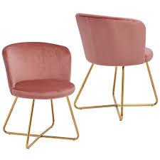 duhome 2er set esszimmerstuhl polsterstuhl aus stoff samt rosa pink metallgestell goldfarben