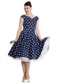 1950s Style Dresses Gorgeous Retro Navy Polka Dot Swing Dress Lzlbizw