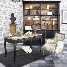 bureau maison du monde bibliothèque avec échelle en pin massif noir light colors lights