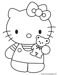 Hello Kitty Showing Teddy Bear Coloring Pages Printable