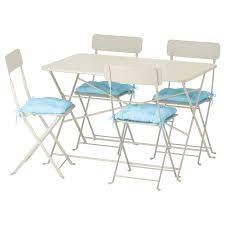 IKEA SALTHOLMEN Table+4 Folding Chairs, Outdoor, Beige, Kuddarna Cushion