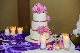 Download Delicious Beautiful White Wedding Cake With Purple Flowers Stock Image Image