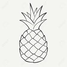 Outline Black And White Image A Pineapple Royalty Free Cliparts