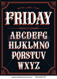 Cool Vector Set Of Western Style Label Font In White Color On Black Background Retro