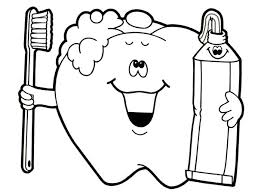 Brush Your Teeth For Dental Health Coloring Page