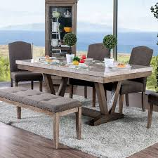 Furniture Of America Emmiyah Rustic Genuine Marble Dining Table - Natural Top 30 Great Expandable Kitchen Table Square Ding Chairs Unique Entzuckend Large Rustic Wood Tables Design And Depot Canterbury With 5 Bench Room Fniture Ashley Homestore Hcom Piece Counter Height And Set Rustic Wood Ding Table Set Momluvco Beautiful Abcdeleditioncom Home Inviting Ideas Nottingham Solid Black Round Dark W Custom