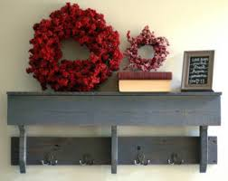 Reclaimed Wood Hook Shelf With Hooks Gray Rustic Shelving