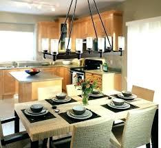 Rectangular Dining Room Light Fixtures Black Iron Rectangle Chandelier Over Wicker Rattan Table Pendant Lights Dini