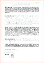 Warehouse Assistant Cover Letter Supervisor Resume Sample Luxury Manager Of Fresh