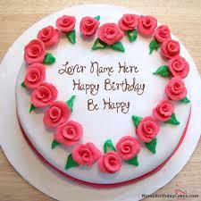 Cake · Write name on Roses Heart Birthday Cake Happy Birthday Wishes