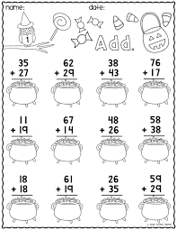 Halloween Multiplication Worksheets Grade 3 by Print U0026 Go Two Digit Addition Printables Halloween Students