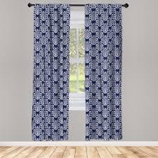 gardine fensterbehandlungen 2 panel set für wohnzimmer schlafzimmer dekor abakuhaus navy blau floral antique damast kaufen otto