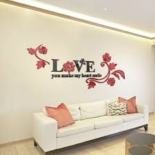Love Acrylic Mirror Decorative Stickers 3D Bedroom Background TV Wall Decals DIY Home Decor Art Wallpaper
