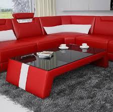 moderner wohnzimmer couchtisch tisch beistell glas polster leder tische design