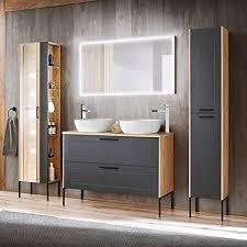 lomadox badezimmer badmöbel komplett set in matt grau mit