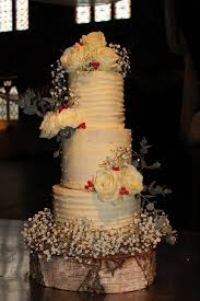 Buttercream White Roses Berries Silver Birch Tree Trunk Rustic Natural