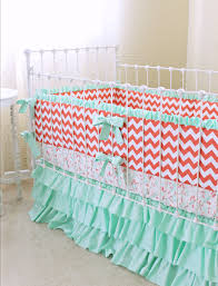 Coral And Mint Crib Bedding by Coral And Teal Bedding