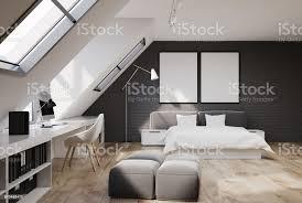 gemauerte wand schlafzimmer und büro zu hause holz stockfoto und mehr bilder bett