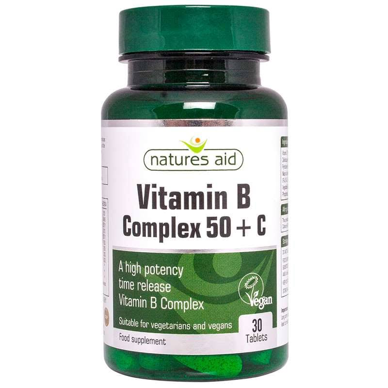 Natures Aid Vitamin B Complex+C High Potency - 90 Tablets