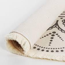 shacos vintage teppich rund 120cm grau baumwollteppich