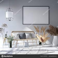 Home Interior Pics Attrappe Posterrahmen In Home Interior Hintergrund Bohemian Stil Wohnzimmer 3d Render 226578874
