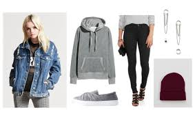 Fall Outfits Cute Outfit For With Denim Jacket Gray Sweatshirt Black Skinny