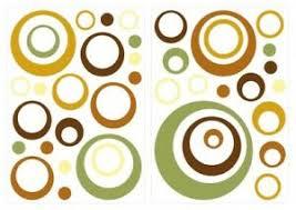 details zu wandtattoo retro kreise grün braun gelb 40 stück wohnzimmer deko