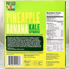 Kind Pressed Pineapple Banana Kale Spinach Bar Milk And Eggs