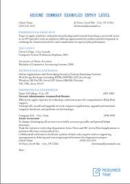 Resume Summary Examples Entry Level View