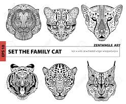 Set The Family Cat Coloring Book For Adults Art Pattern Hand Drawn