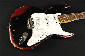 Fender Custom Shop Limited L Series 64 Stratocaster Extreme Heavy Relic Black Over Red Sparkle 367