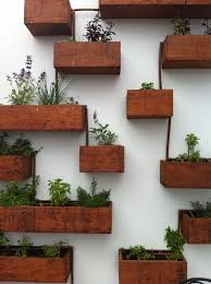 Wall Mounted Wooden Boxes Living Planter Ideas Different Heights Home Garden