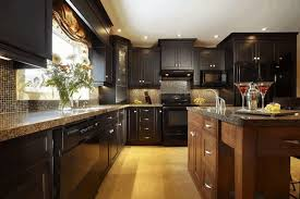 Kitchens With Dark Cabinets And Light Countertops by Kitchen Designs With Dark Cabinets Glass Front Upper Cabinets