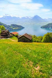 100 Houses In Nature Beautiful Nature View And Houses On Mountain Slope With Luzern