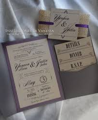 Rustic Wedding Invitation Pocket Fold With Recycled Cardstock And Yute Enclosure Colors Gray Purple
