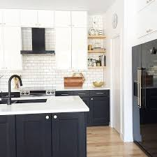 Modern Kitchen Black And White Design Appliances Shelves