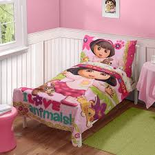 nickelodeon dora the explorer pets 3pc toddler bedding set with