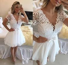 2017 white short homecoming dresses short sleeves v neck lace