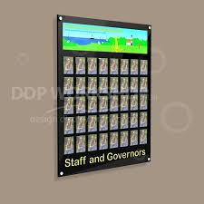 Staff Photo Display Board With Header Footer Graphics