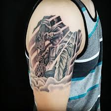 Tattooed Military For Men On Upper Arm Traditional Army Tattoos